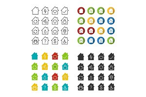 House, cottage, home icons set