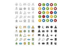Islamic culture icons set
