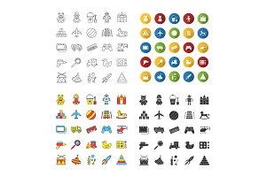 Kids toys icons set