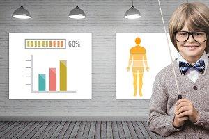 Statistical charts and boy teacher