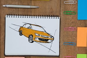 Sketch of car hand drawing