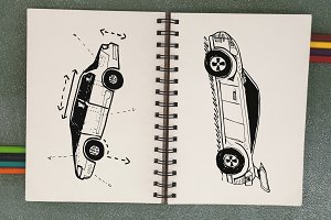Sketch of cars hand drawing