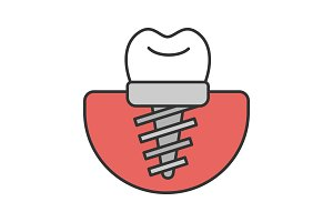 Dental implant color icon