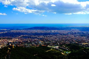 Aerial panorama view to Barcelona fr