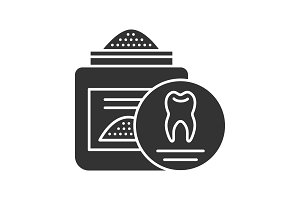 Tooth powder glyph icon