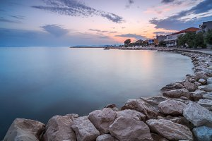 View on lagoon in Croatia at sunset