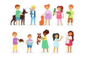 Kids children with pet vector girls