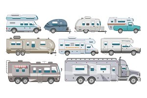 Caravan vector rv camping trailer