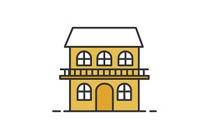 Two storey cottage color icon