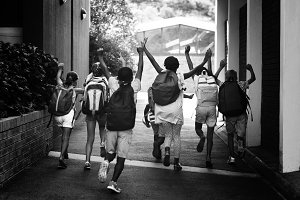 Rear view of classmates