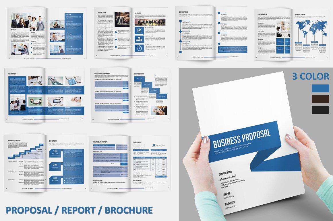 business proposal v118 brochure templates creative market. Black Bedroom Furniture Sets. Home Design Ideas
