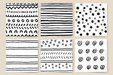 Vector set of ink brush strokes