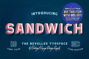 Sandwich • -50% • Bevelled 3D Type