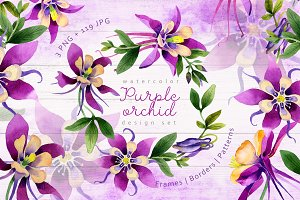 Purple orchid PNG watercolor set
