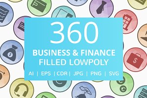 360 Business & Finance Filled Icons