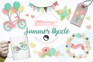 Summer bicycle graphic illustration