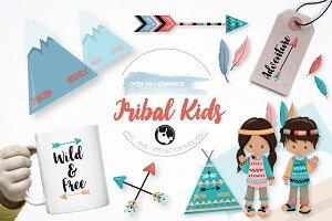 Tribal kids graphics illustration