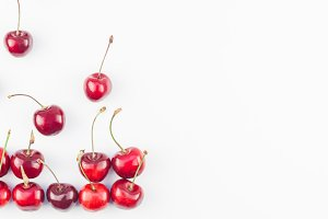 Fresh ripe cherry pattern isolated