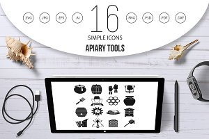 Apiary tools icons set, simple style
