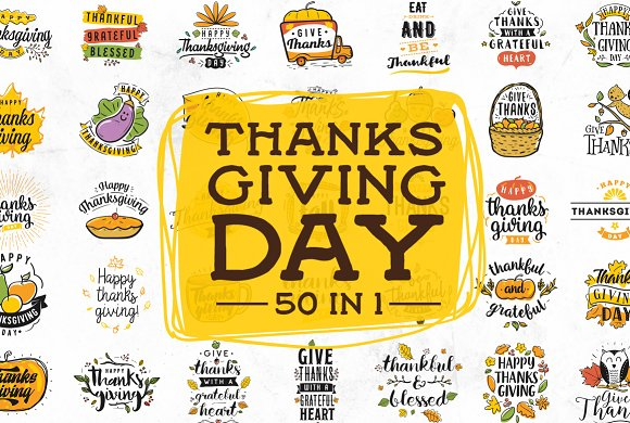 Thanksgiving day typography. 50 in 1