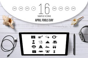 April fools day icons set, simple