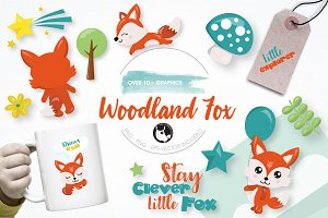 Woodland fox graphics illustration