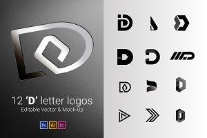 12 D Letter Logos - Vector & Mock-Up