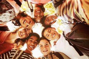 Portrait of smiling school kids