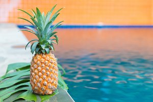 Fresh yellow pineapple tropic fruit