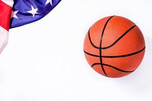 Basketball and USA flag