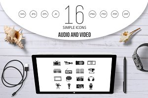 Audio and video icons set, simple