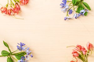 frame of satin flower on wood backgr