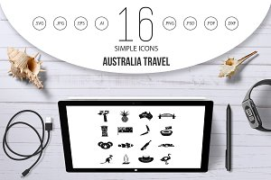 Australia travel icons set, simple