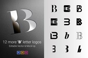 12 B Letter Logos - Vector & Mock-Up