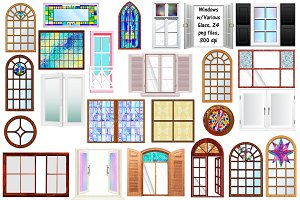 Windows w/Stained Glass & Clear