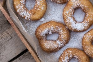 Homemade donuts with icing sugar