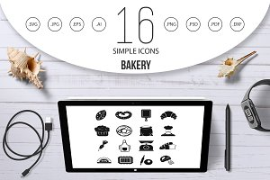 Bakery icons set, simple style
