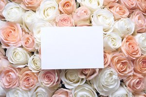 Card Mock-up Photo with Roses