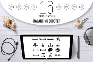 Balancing scooter icons set, simple