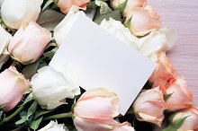 Mock-up Photo of Card with Roses by  in Beauty & Fashion