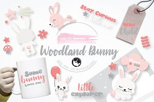 Woodland bunny graphic illustration