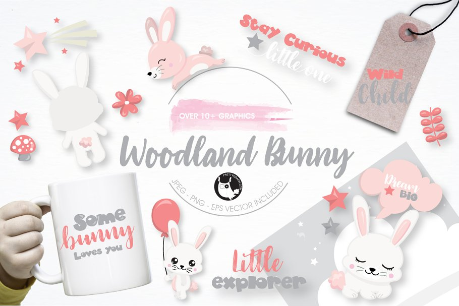 Woodland bunny graphic illustration in Illustrations - product preview 8