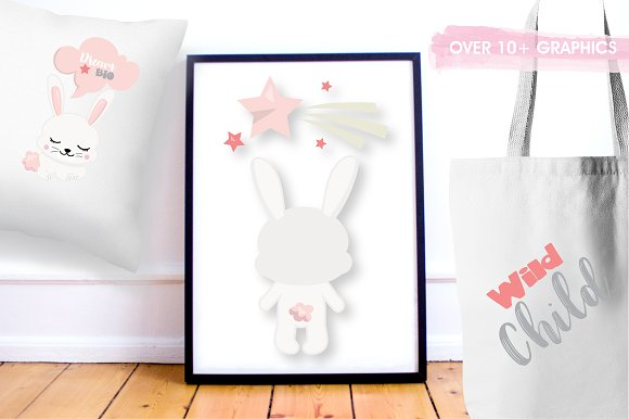 Woodland bunny graphic illustration in Illustrations - product preview 2