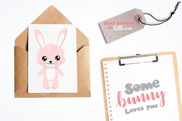 Woodland bunny graphic illustration in Illustrations - product preview 4