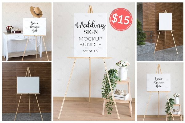 Wedding Sign Mockup Bundle set of 1…