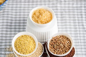 Gluten free grains in bowls
