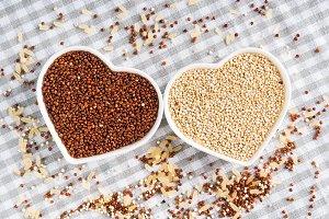 Gluten free grain quinoa in bowls on
