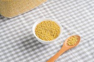 Gluten free grain millet in bowl on