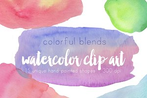 Colorful Blends Watercolor Clip Art
