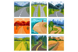 Road landscape vector roadway in